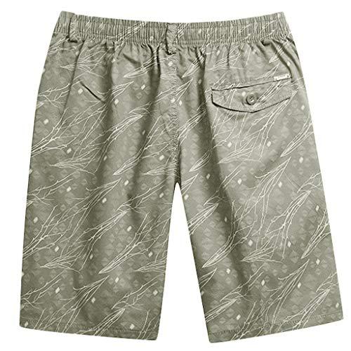 Men Shorts Cotton Casual Outdoor Elastic Waist Fashion Classic Fit Beach Shorts with Pockets and Zipper (XXXXL, Khaki)
