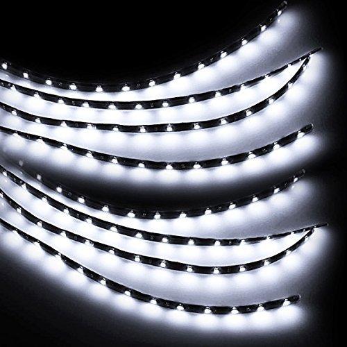 Zento Deals 30cm White LED Car Flexible Waterproof Light Strips (Pack of 8)