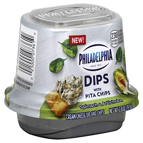 Philadelphia Single Serve Dips 2.8 oz (Pack of 6) (Spinach Artichoke with Pita Chips)