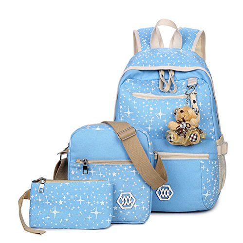 Tibes Canvas Student Backpack Casual Shoulder Bag Cute Purse with Lovely Bear Light Blue