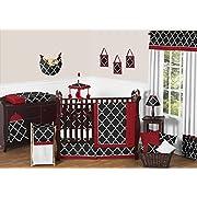 Sweet Jojo Designs 9-Piece Red, Black and White Trellis Print Gender Neutral Baby Bedding Boy or Girl Crib Set