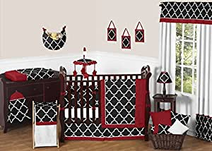 Sweet Jojo Designs Red, Black and White Trellis Print Gender Neutral Baby Bedding 9 Piece Boy or Girl Crib Set