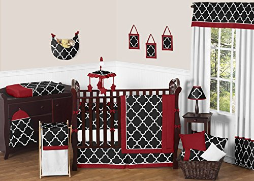 Sweet Jojo Designs Red, Black and White Trellis Print Lattice Lamp Shade