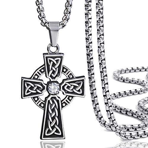 - Elfasio Jewelry Stainless Steel Celtic Cross Pendant Necklace Mens Boys Chain 20inch