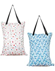 ALVABABY Large Wet Dry Bag,Waterproof Hanging Cloth Diaper with Double Zippered Pockets (25x18 inches) HL-H001