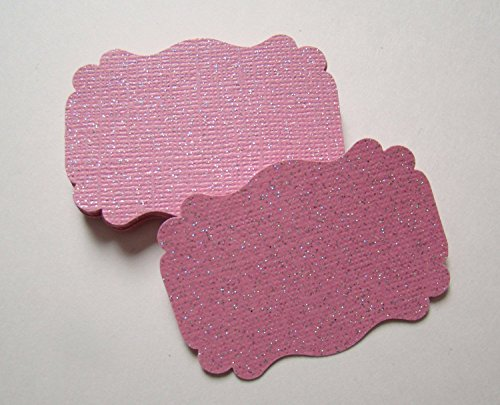 Pink Wedding Tag (50 Blank Glitter Light Pink Scalloped Edge Bracket Hang Tags Tag - Baby Girl Wedding Party Card)