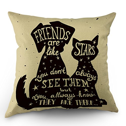 Pillow Good Friends - Moslion Best Friend Quote Pillow Cases Black Dog and Cat Inside Quote Friends are Like Stars Throw Pillow Covers 18