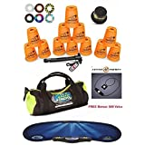 Speed Stacks Custom Combo Set - The Works: 12 ORANGE 4 Cups, Cup Keeper, Quick Release Stem, Pro Timer, Gen 3 Mat, 6 Snap Tops, Gear Bag + FREE Bonus: Active Energy Power Balance Necklace $49 Free