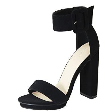64c62c57c80f Love Mark Womens Open Toe Buckle Ankle Strap Cuff Platform Chunky Heel Pump  Sandal 6 Black