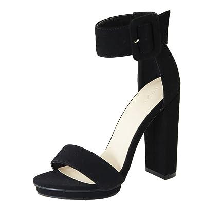 375f2e79fbd Love Mark Womens Open Toe Buckle Ankle Strap Cuff Platform Chunky Heel Pump  Sandal 6 Black