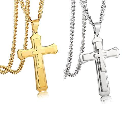 Thunaraz 2PCS Men Stainless Steel Cross Necklace 24