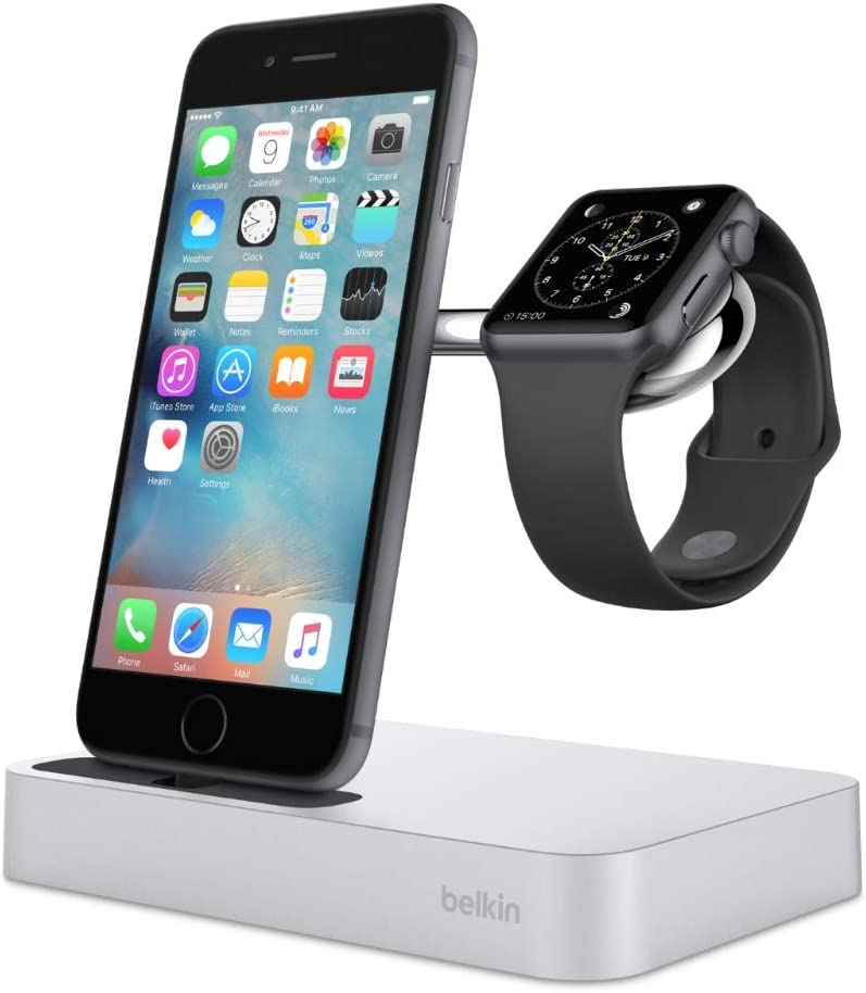 Belkin Valet Charge Dock for Apple Watch + iPhone, iPhone Charging Dock for iPhone 11, 11 Pro, 11 Pro Max, Xs, XS Max, XR, X, 8/8 Plus and More, Apple Watch Series 4, 3, 2, 1, Silver (F8J183ttSLV-APL)