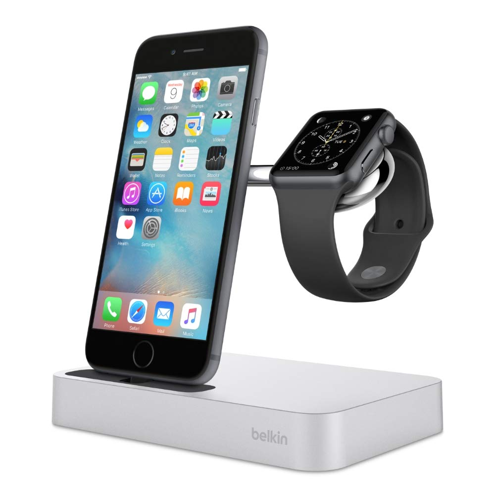Belkin Valet Charge Dock for Apple Watch + iPhone, iPhone Charging Dock for iPhone Xs, XS Max, XR, X, 8/8 Plus and More, Apple Watch Series 4, 3, 2, 1, Silver