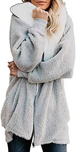 Overcoat for Women Casual Slouchy Solid Oversized Zip Down Hooded Fluffy Coat Cardigans Outwear with Pocket