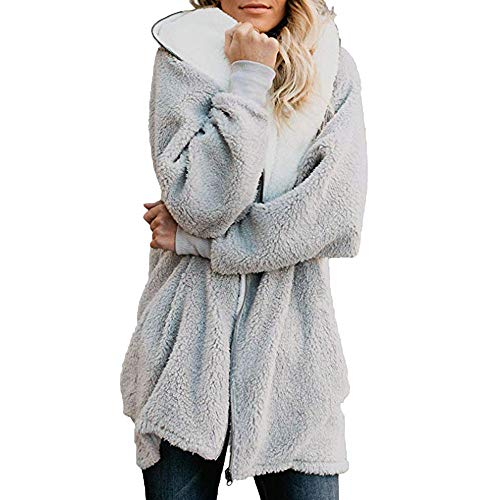 Womens Solid Oversized Zip Down Hooded Fluffy Coat Cardigans Outwear with Pocket Gray