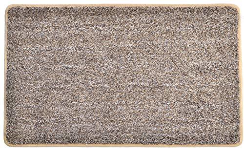 EcoMat Floor Mat Super Absorbing Premium Door Mat Eco Friendly Rubber Backing Non Slip Mat Welcome Mat Kitchen Mat Mud Mat Cotton + Microfiber aprox 18 x 30 Machine Washable by (Khaki)