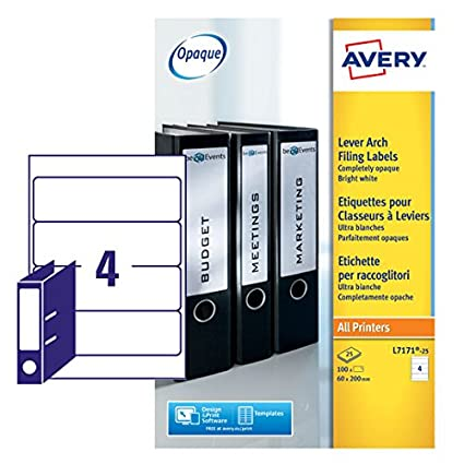 Avery L7171 25 Self Adhesive Lever Arch File Labels 4 Labels Per A4