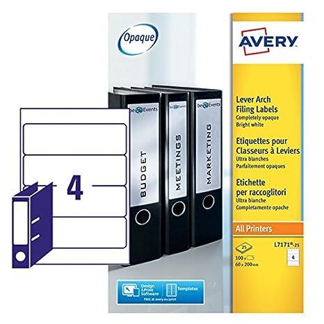 Avery L7171-25 - Etiquetas adhesivas para archivadores (200 x 60 mm, 25 unidades), color blanco: Amazon.es: Oficina y papelería
