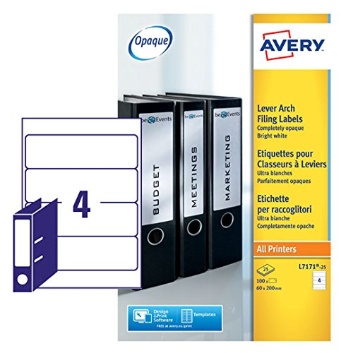 Amazon Avery Lever Arch File Label A4 Pack Of 25 L7171 25