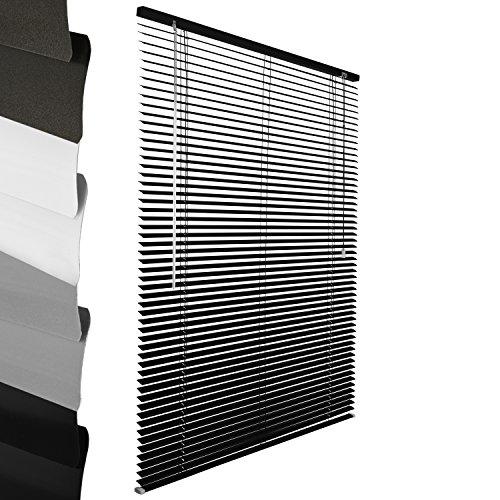 Sol Royal ALU Jalousie: Aluminium Jalousie Schwarz 40 x 130 cm (B x L) einfache Montage ohne Bohren inkl. Klemmträger