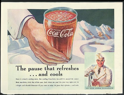 Pause that refreshes & cools Coca-Cola ad 1937 Soda jerk by Sundblom