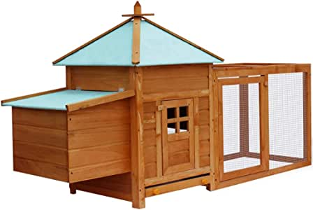 Large Wooden Chicken Hen Coop Rabbit Hutch Cage Pig Ferret House Roomy Run Mesh