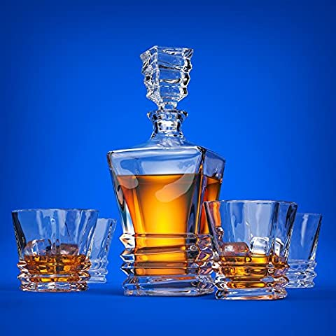 Art Deco Premium Quality Lead Free Crystal Whiskey Decanter Set With 4 Glasses In Unique Elegant Gift Box. Dishwasher Safe. The Original Art Deco Liquor Decanter Set For Whisky, Scotch Or Bourbon.