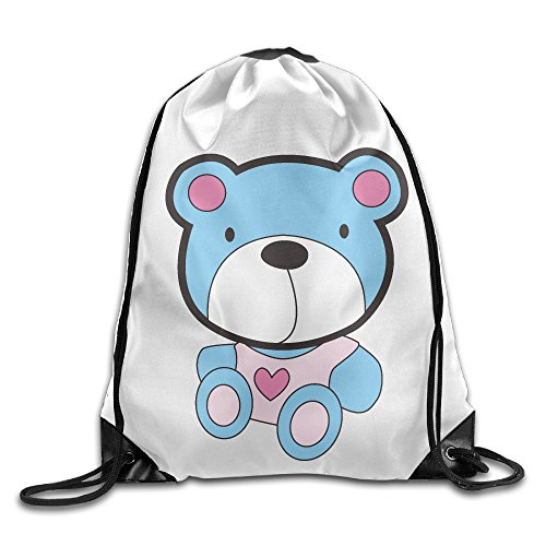 Bekey Cute Blue Little Bear Gym Drawstring Backpack Bags For Men & Women For Home Travel Storage Use Gym Traveling Shopping Sport Yoga Running