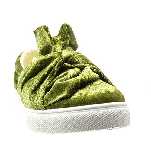Sapatilha Sapatos 0 Calcanhar Cm Plana Nó Verde Baixo Mocassim Angkorly Femininos ZHadwqZE