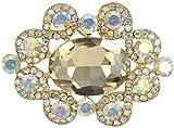 Gyn&Joy Aurora Borealis Crystal Rhinestone Wedding Formal Accessory Brooch Pin