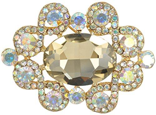 (Gyn&Joy Aurora Borealis Crystal Rhinestone Wedding Formal Accessory Brooch Pin)