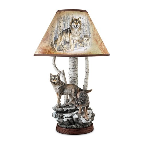 Hand Painted Trim Shade - Al Agnew Spirit of the Forest Wolf Art Table Lamp by The Bradford Exchange