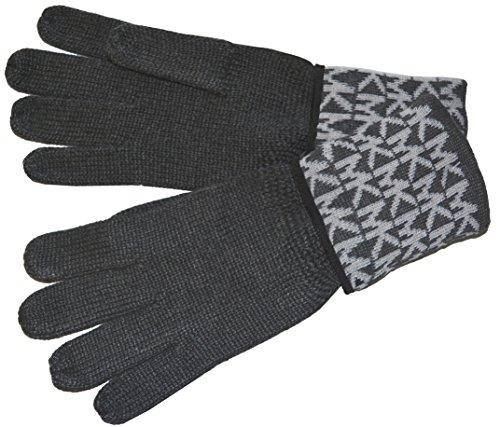 Michael Kors Womens Gloves MK Logo Knit Cuffed Gloves (Charcoal Grey)