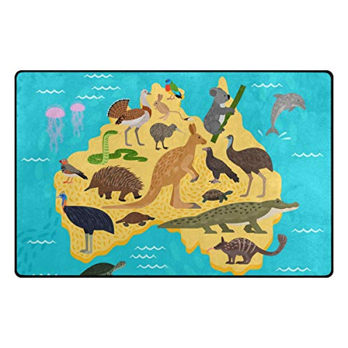 ColourLife Lightweight Soft Area Rugs Animal Australia Map Floor Mat Doormat for for Rooms Entrance Hardwood Floor Living Room 31 x 20 inch(2'7