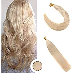 """Ugeat 22"""" I Tip Human Hair Extensions #613 Blench Blonde 7A Grade 100% Real Remy Fusion Hair Extensions I Tip 40g"""