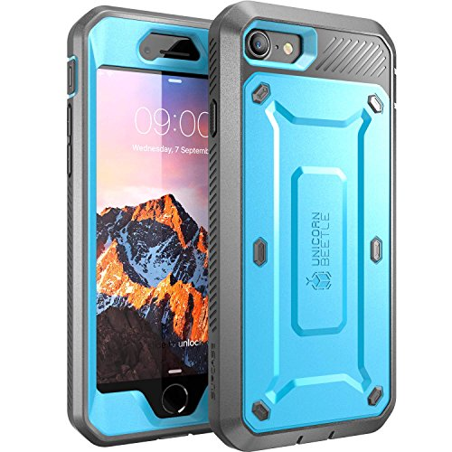 SupCase Unicorn Beetle Pro Series Case Designed for iPhone 7, iPhone 8, Full-body Rugged Holster Case with Built-in Screen Protector for Apple iPhone 7 2016 / iPhone 8 2017 (Blue) (Iphone 5 Giving Tree Case)