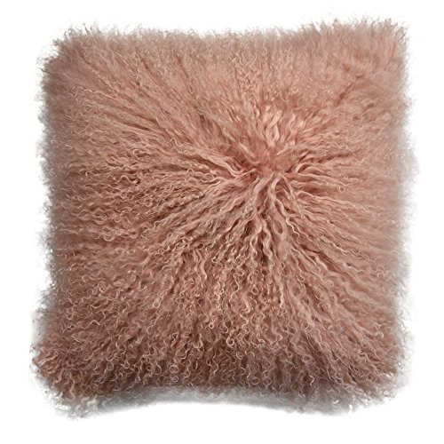 Lichao Mongolian Lamb Fur Pillow Cover Luxurious Sheep Skin Cushion Cover Soft Plush Curly Pillow Case Home Decorative Throw Pillow Cover Plain Wool Pillow Protector 16 X16 Inch Bedroom (Pink)