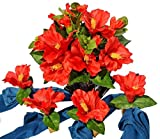 Hospitality Florals Hawaiian Island Red Hibiscus Centerpiece Ensemble with 4 Matching Mango Wood Napkin Rings