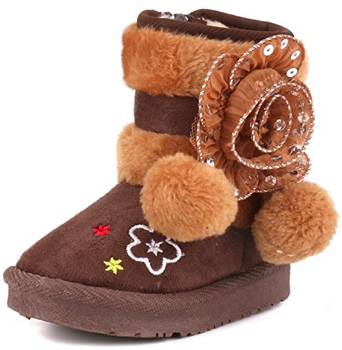 (Femizee Toddler Girls Winter Boots, Cute Warm Pom Pom Side Flower Dress Snow Booties,Brown,1942)