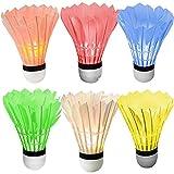 [6 Pack] Sadun LED Badminton Set Shuttlecock Dark Night Glow Birdies Lighting for Outdoor Indoor Sports Activities