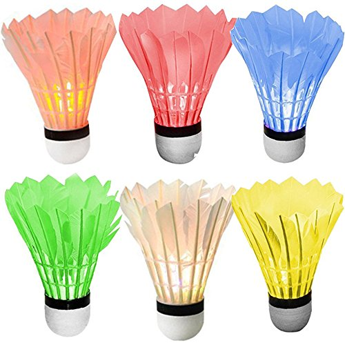 [6 Pack] Sadun LED Badminton Set Shuttlecock Dark Night Glow Birdies Lighting for Outdoor Indoor Sports Activities