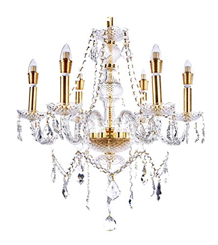 New Legend Lighting 6-Light Classic Style Gold Finish Crystal Chandelier Pendant Hanging Ceiling Lighting, 22