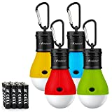 Camping Tent Lantern Bulb Lights - 4 Pack Multi Color - Portable Camp LED Lamp for Fishing Hiking Emergency - Battery Powered Includes 12 AAA