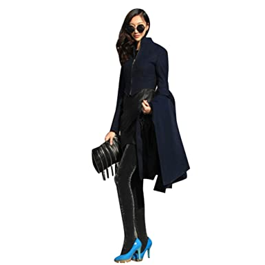 228aa8de9ddd Jitong Damen Mantel Lange Slim Fit Trenchcoat Wintermantel Maxi  Übergangsjacke Outwear Dunkelblau S