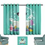 HCCJLCKS Half Blackout Curtains Nursery Pug Dog in Bathtub Grooming Salon Service Shampoo Rubber Duck Pets in Cartoon Style Image Thermal Insulated Block Out Sunlight Shade W72 xL45 Teal