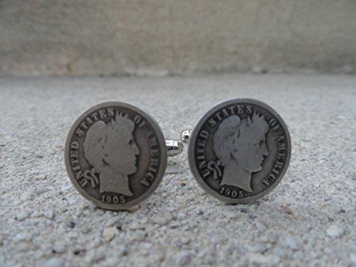 American Liberty Cufflinks (American Barber Dime or Liberty Head Coin Cufflinks)