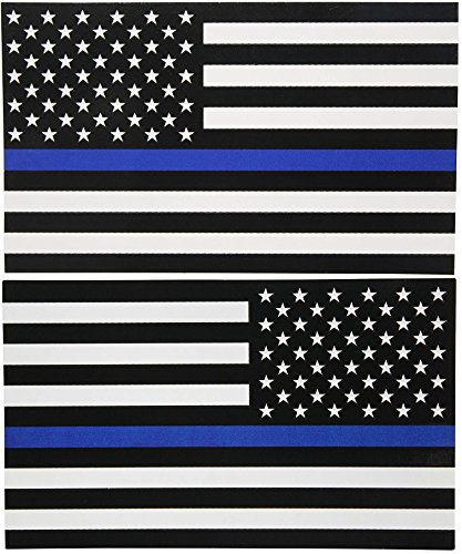 Papapatch Set USA Flag and Reverse Police Law Enforcement Thin Blue Line American US United States of America Window Laptop Wall Decor Decal Vinyl Sticker (PS-STK-USA-BLUE-LINE-SET) (Blue Decal Set)