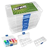 Small Plastic Storage Box with 10 Compartments and Adjustable Dividers (Pack of 5) Clear Organizers for Beads, Jewelry, Small Parts and More