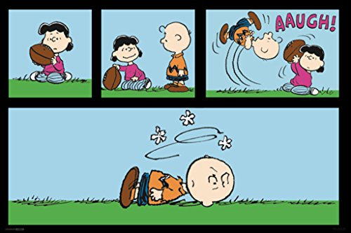 Pyramid America Peanuts Football Charlie Brown and Lucy Van Pelt Playing Kicking Football Funny Poster 36x24 Inch ()