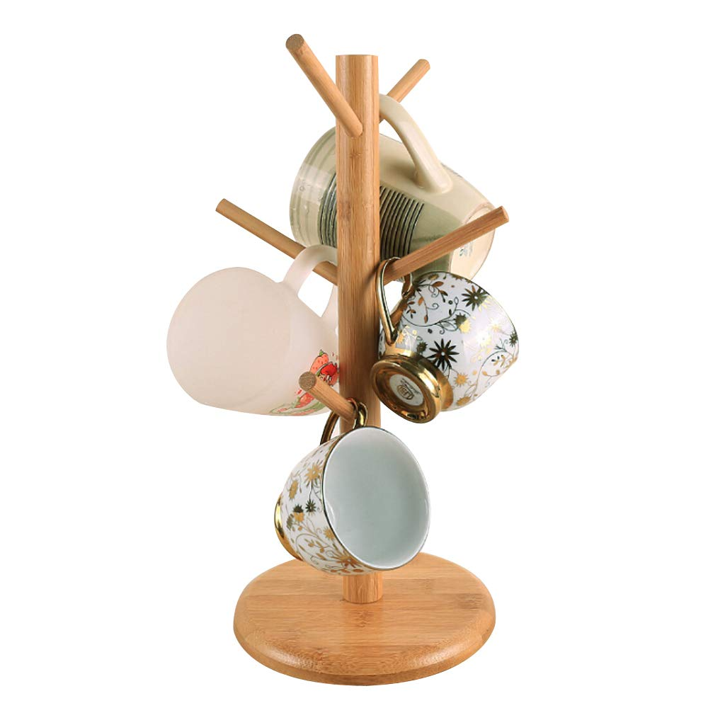 SYIDINZN Mug Rack Stand Holder Tree Organizer | Bamboo Mug Tree with 6 Storage Hooks | Cups Holder Storage Coffee Tea Cup | Hold and Dry Large Coffee Mugs or Cups